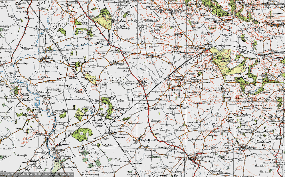 Old Map of Historic Map covering Woodman's Ho in 1925
