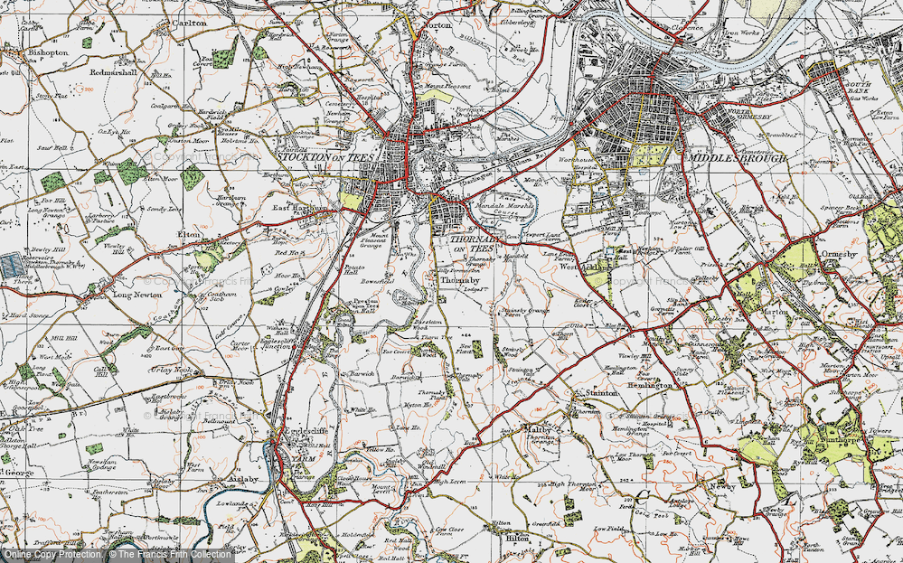 Old Map of Thornaby-on-Tees, 1925 in 1925