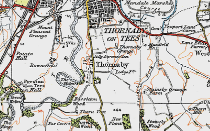 Old map of Thornaby-on-Tees in 1925