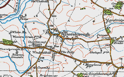 Old map of Thornborough in 1919