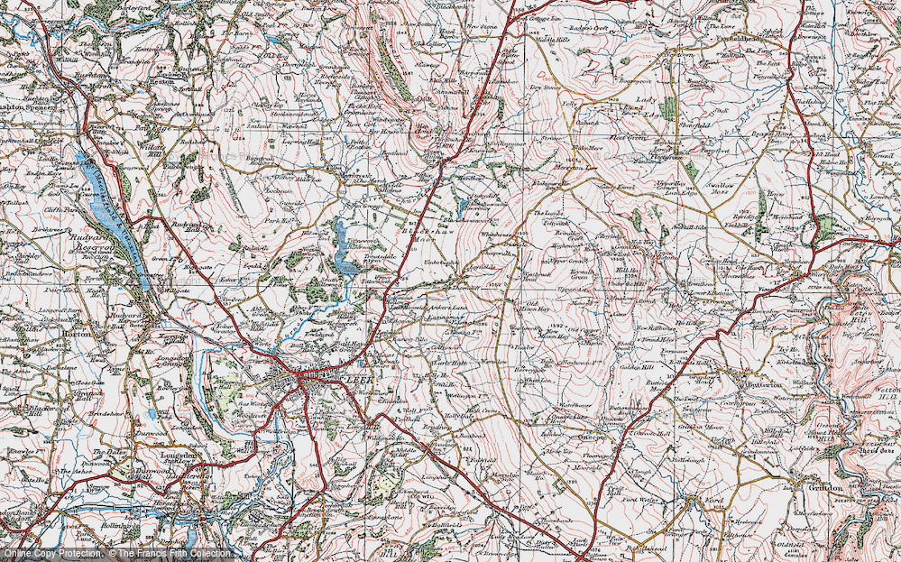 Old Map of Historic Map covering Ley Fields in 1923