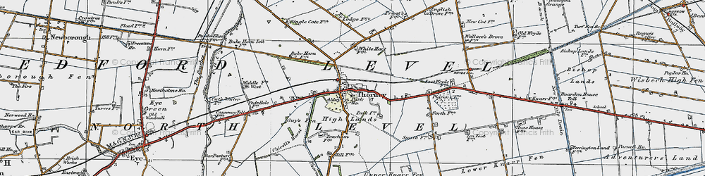 Old map of Thorney River in 1922