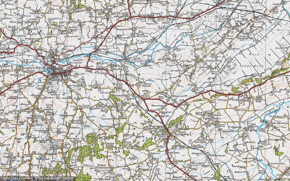 Old Map of Historic Map covering Ash Cross in 1919