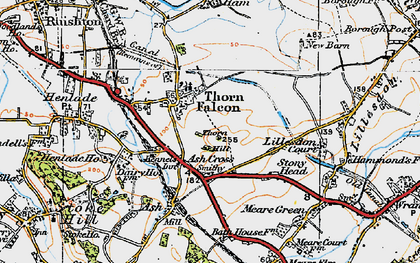 Old map of Ash Cross in 1919