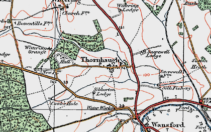 Old map of Wittering Grange in 1922