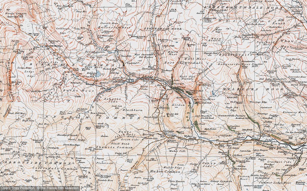 Old Map of Historic Map covering Ashgill Side in 1925