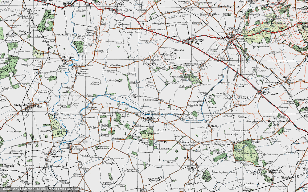 Old Map of Historic Map covering Allerthorpe Common in 1924