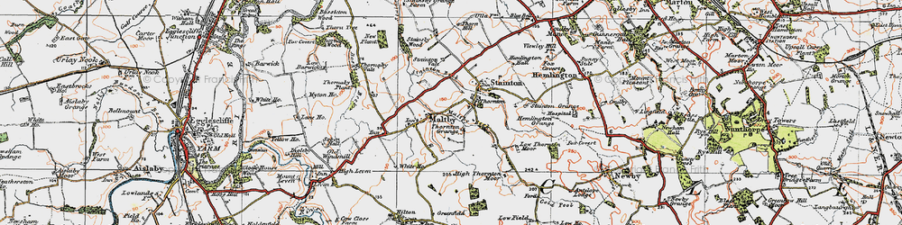 Old map of Thornton in 1925
