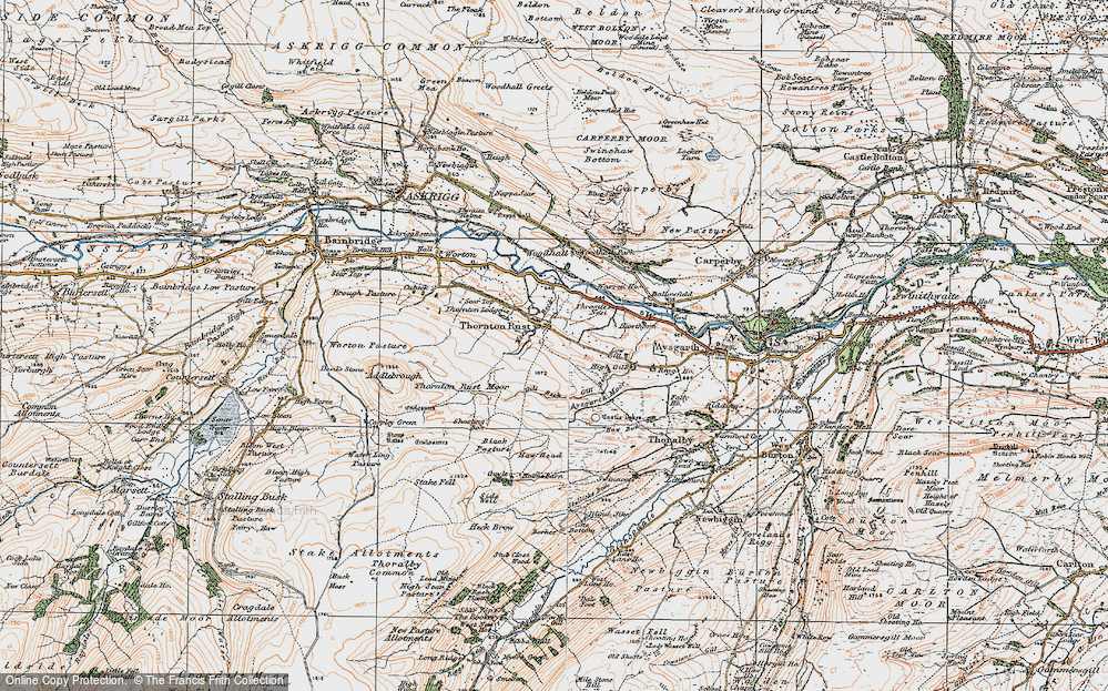 Old Map of Historic Map covering Aysgarth Moor in 1925