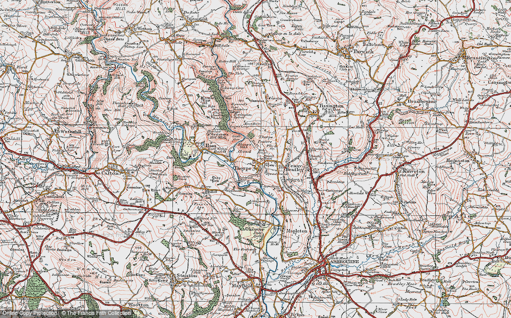 Old Map of Thorpe, 1921 in 1921