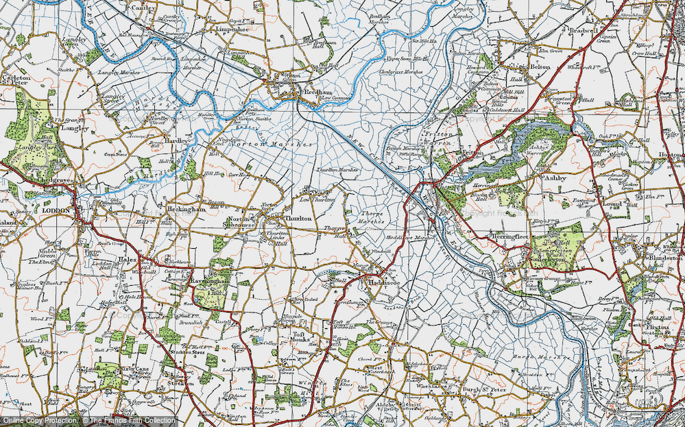 Old Map of Historic Map covering Thurlton Marshes in 1922