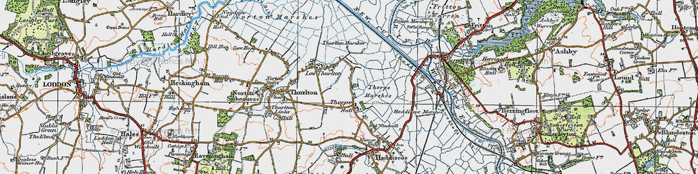Old map of Thurlton Marshes in 1922