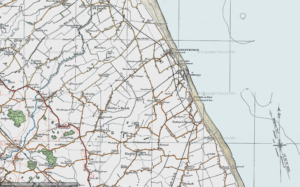 Old Map of Historic Map covering Bamber's Br in 1923