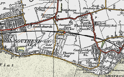 Old map of Thorpe Bay in 1921