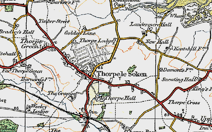 Old map of Thorpe-le-Soken in 1921