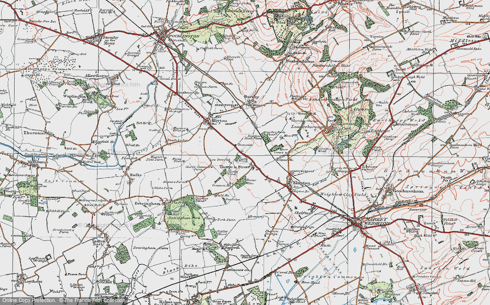 Old Map of Historic Map covering Leak Wood in 1924