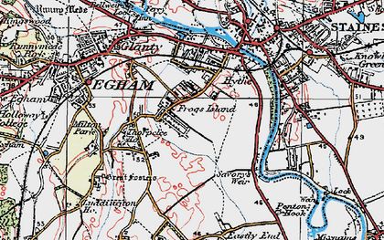 Old map of Thorpe Lea in 1920