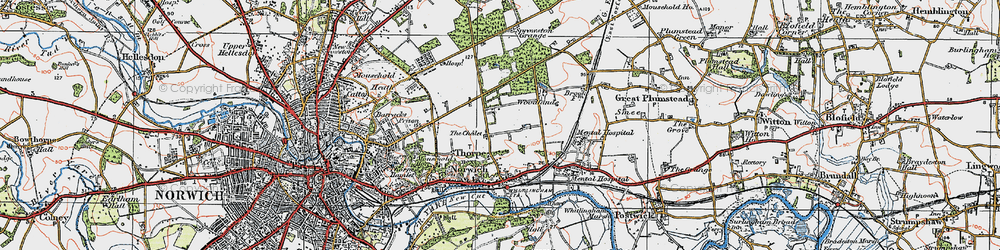 Old map of Thorpe St Andrew in 1922