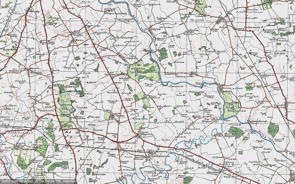 Old Map of Thorpe Underwood, 1925 in 1925