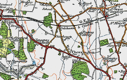 Old map of Thorrington in 1921