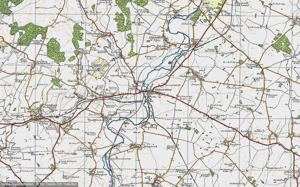 Old Map of Historic Map covering Woodford Grange in 1920