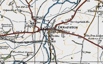 Old map of Thrapston in 1920