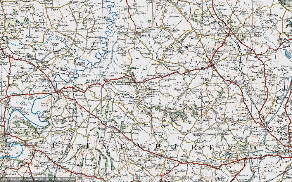 Old Map of Historic Map covering Tinkwood in 1921