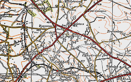 Old map of Three Burrows in 1919