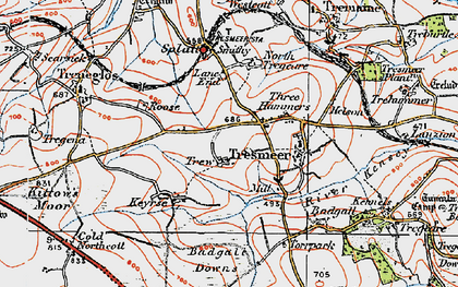 Old map of Three Hammers in 1919