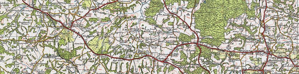 Old map of Three Leg Cross in 1920