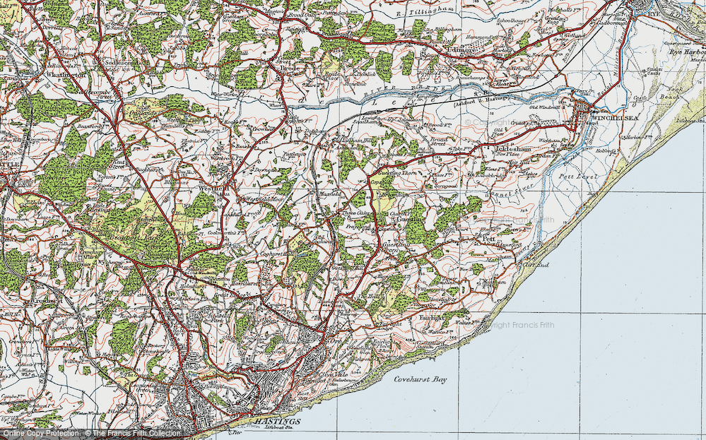 Old Map of Historic Map covering 1066 Country Walk Hastings Link in 1921