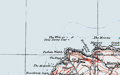 Old map of Three Stone Oar in 1919