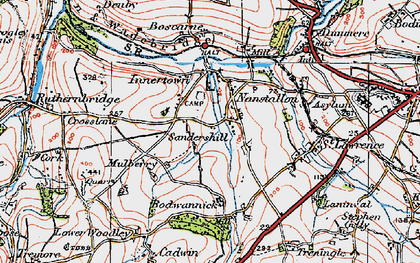Old map of Threewaters in 1919