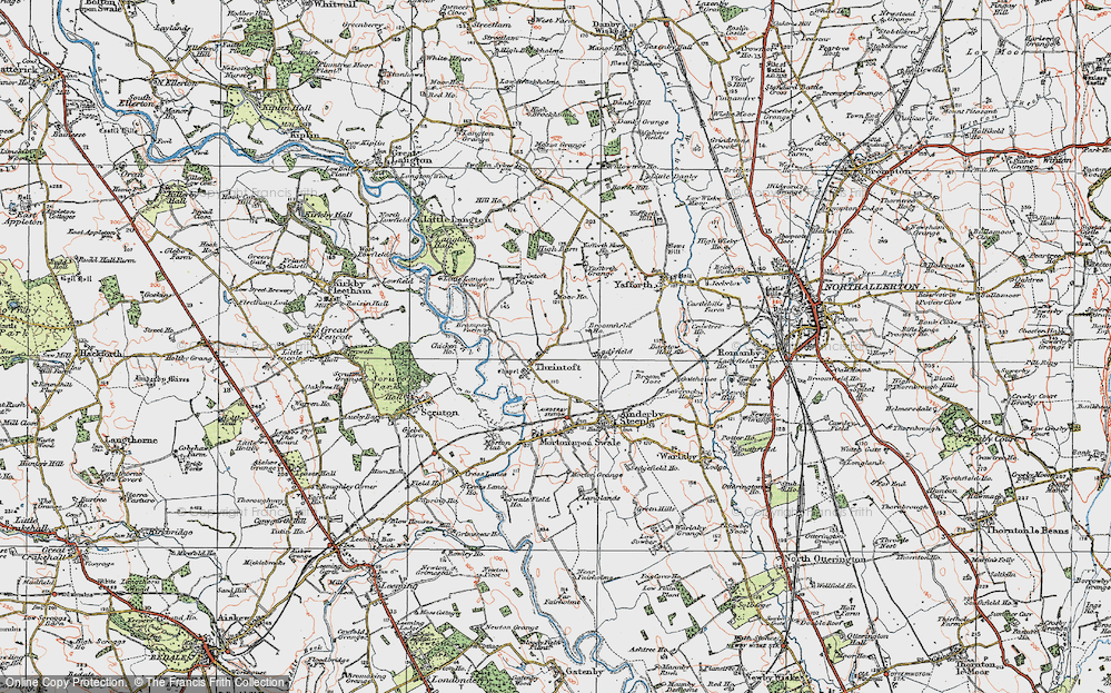 Old Map of Historic Map covering Yafforth Grange in 1925