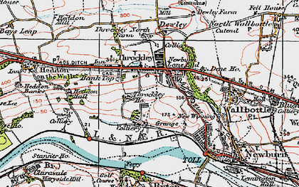 Old map of Throckley in 1925