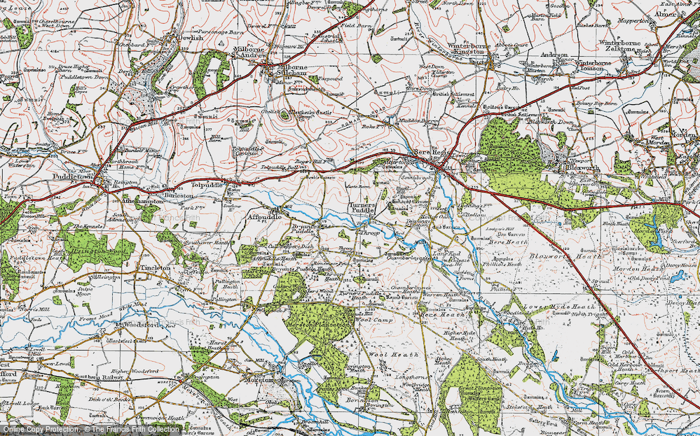 Old Map of Historic Map covering Tonerspuddle Heath in 1919