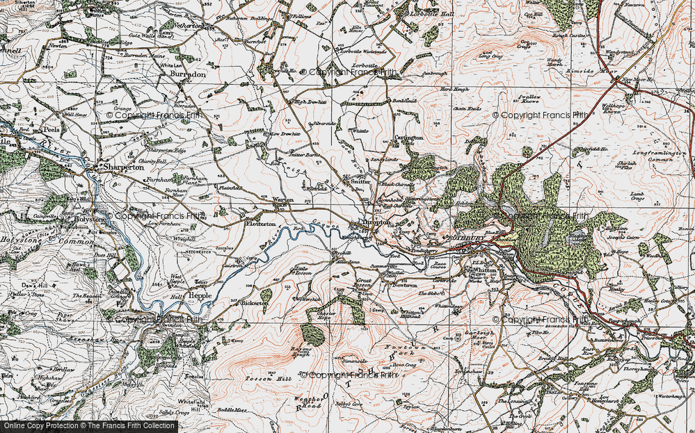 Old Map of Historic Map covering Allerdene in 1925