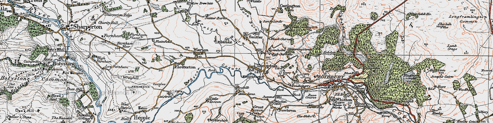 Old map of Thropton in 1925