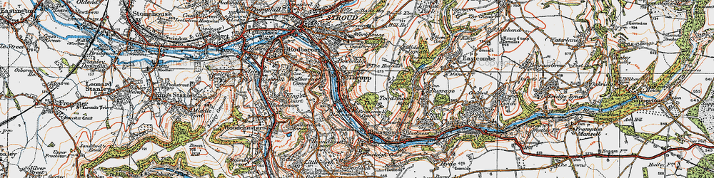 Old map of Thrupp in 1919