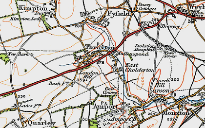 Old map of Thruxton in 1919