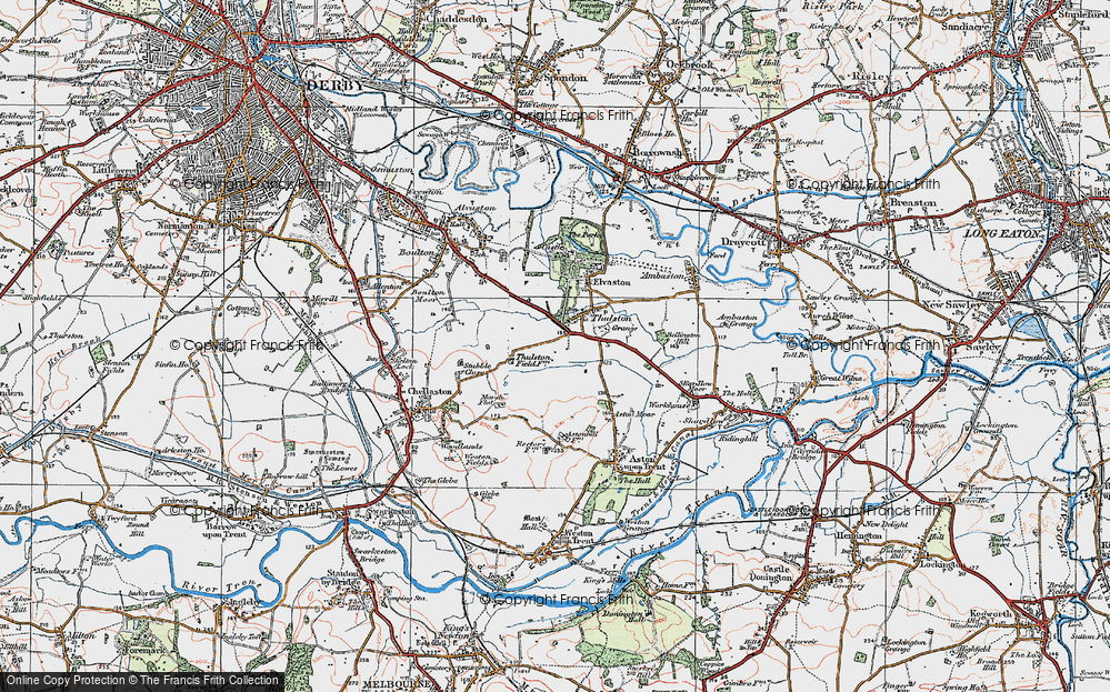Old Map of Historic Map covering Thurlestone Grange in 1921