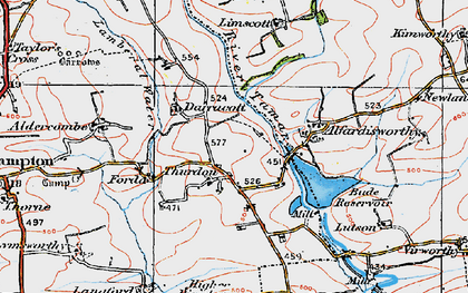 Old map of Thurdon in 1919