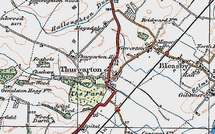 Old map of Thurgarton in 1921