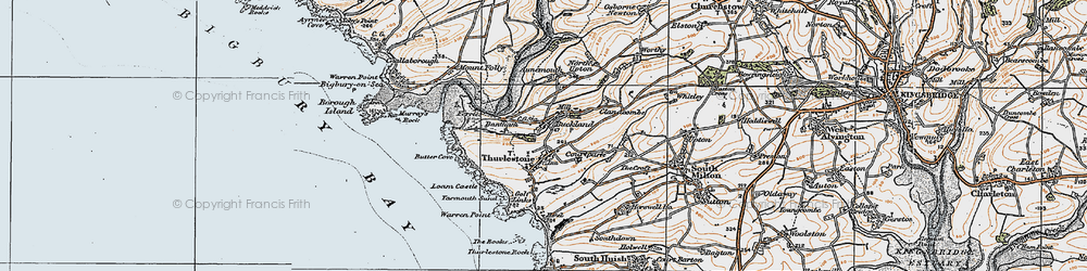 Old map of Thurlestone in 1919