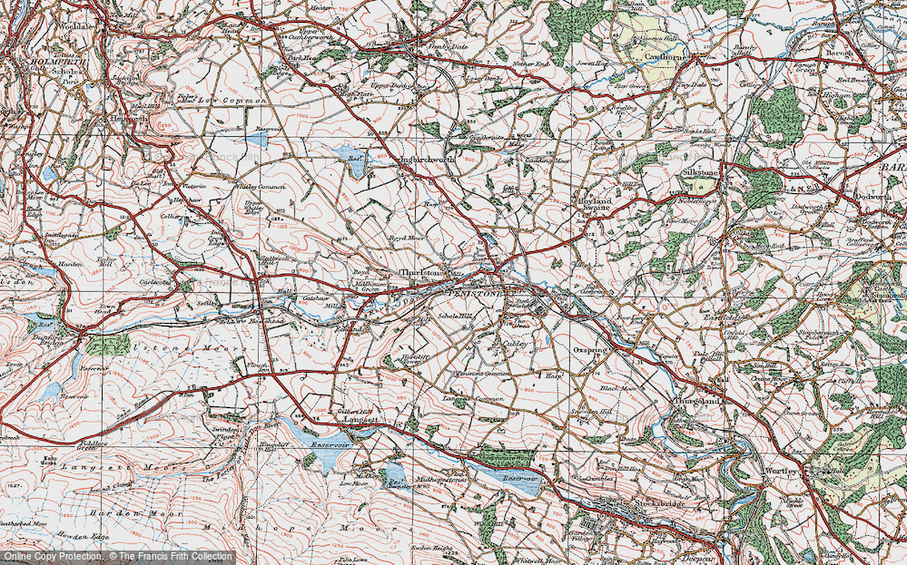 Old Map of Thurlstone, 1924 in 1924