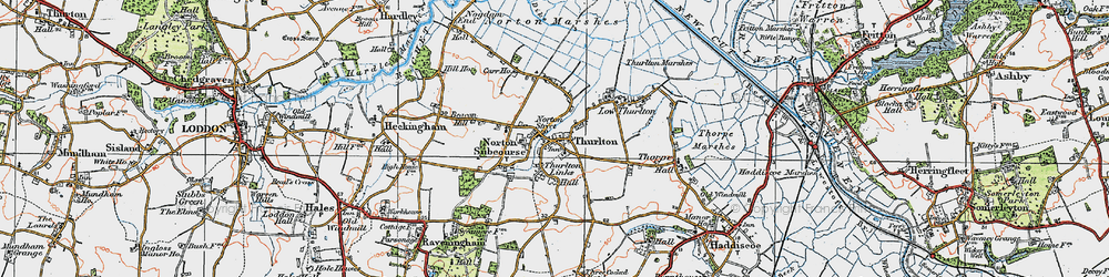 Old map of Thurlton in 1922