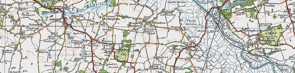 Old map of Thurlton Links in 1922