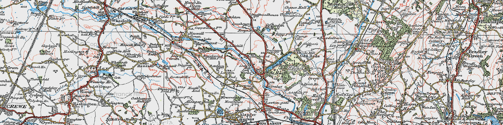 Old map of Thurlwood in 1923