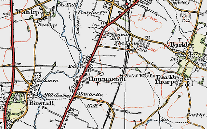 Old map of Thurmaston in 1921