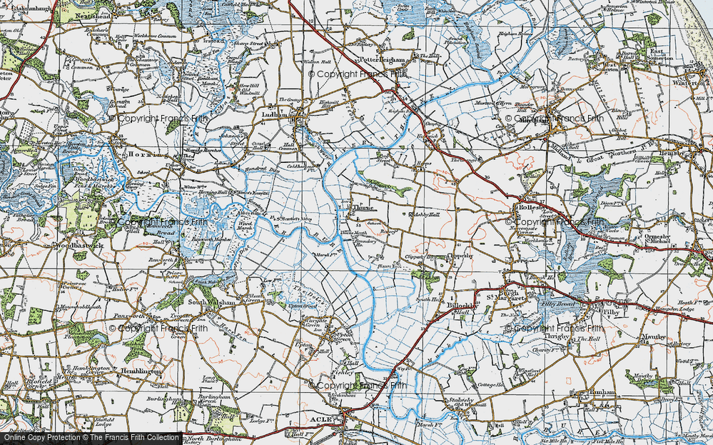 Old Map of Historic Map covering Thurne Mouth in 1922